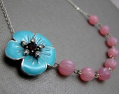 """Blue Cherry Blossom Star Necklace // Blue Enamel Flower with Purple Star // Pink Melon Glassbeads // 16"""" Silver Chain // Gift under 40"""