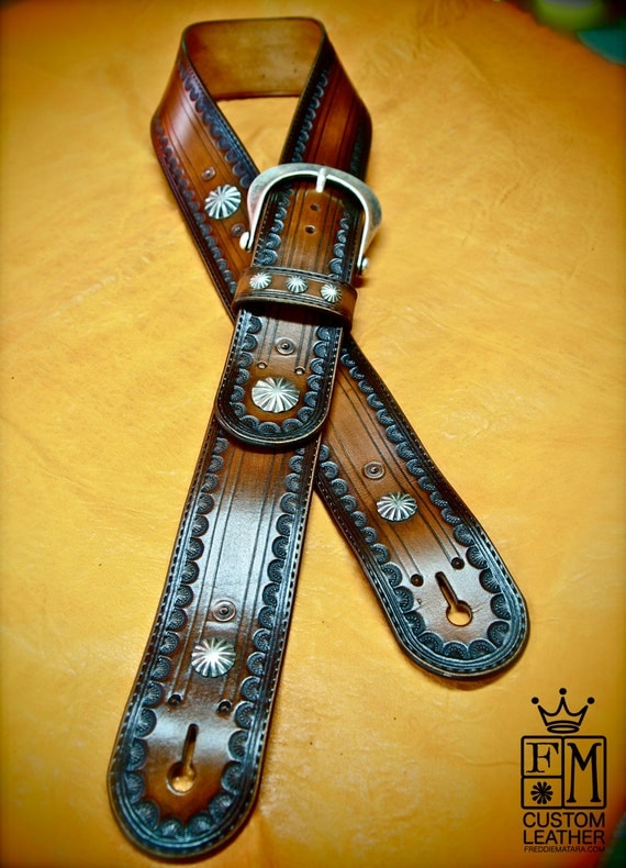 Leather Guitar Strap Brown tobacco Sunburst OUTLAW Cowboy Rockstar Tooled Vintage Style Handmade for YOU in NYC by Freddie Matara!