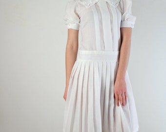 White Dress • 1910s Inspired Dress • Lawn Dress • Drop Waist Dress • White Cotton Dress • Cotton Dress • XS Dress • Tea Dress • Edwardian