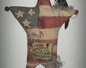 Primitive Americana Star  with Crow Door/Wall Hanger, Handmade