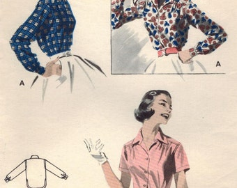1950s Butterick 7491 Vintage Sewing Pattern Misses Blouse, Shirt Size 16 Bust 34
