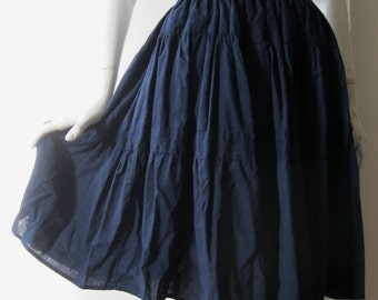 Navy blue skirt with wide blue striped elastic waistband, super full, gathered, small / medium