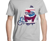 Mens Hipster Bicycle T Shirt, Funny Beer Shirt, Cool Bike Tee, American Apparel, S M L XL XXL