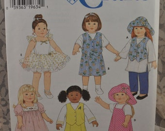 Simplicity 7444 - Cute Clothes for American Girl Sized Dolls - Adorable Wardrobe - Gotz, 18 Inch Dolls - Ballerina Costume -  UNCUT