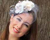 """Bridal  fascinator with birdcage - white with pale pink and silver english wedding hat """"Liza Bride 1"""""""