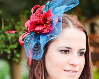 Hair fascinator red fascinator hat blue veil wedding hat WEDDING GAMES