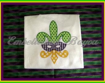 Mardi Gras Fleur de Lis Mask Applique T-shirt for Girls