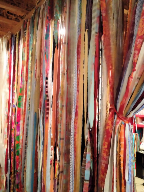 Fabric Garland Curtain 42 X 84 Inch Custom Boho Indie Colors