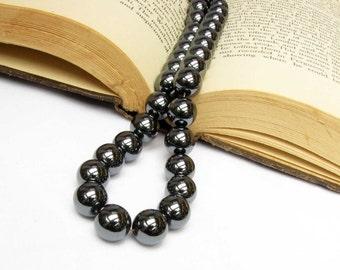 Black Hemalyke Bead Hematite Gemstones Semi precious gems 10 Beads 11 mm Hematite