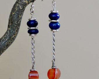 Carnelian -  Lapis Lazuli Earrings. Sterling Silver Earrings. SUNRISE Orange - Blue Gemstone Earrings. Handmade Jewelry.