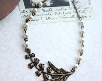 Large Lily of the Valley Branch Leaf Ivory Pearls, Vintage Style Necklace. Wedding Jewelry, Bridesmaids Gift, Bridal. Statement Necklace