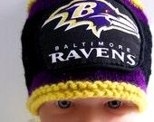 Custom Handmade knit NFL Baltimore Ravens baby hat cap beanie 0-12M- cute gift photo prop