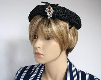 Hat Vintage Hat Women's Mid Century Black Straw 1950's Raffia Tam Style Women's Beret