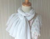 White Cotton Scarf, Cotton Gauze Scarf, Summer Scarf, Summer Fashion, Cotton Summer Scarf, Women's Fashion Accessories, Gift Idea