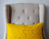Honeycomb Golden Yellow Felt Kidney Pillow with Down Insert