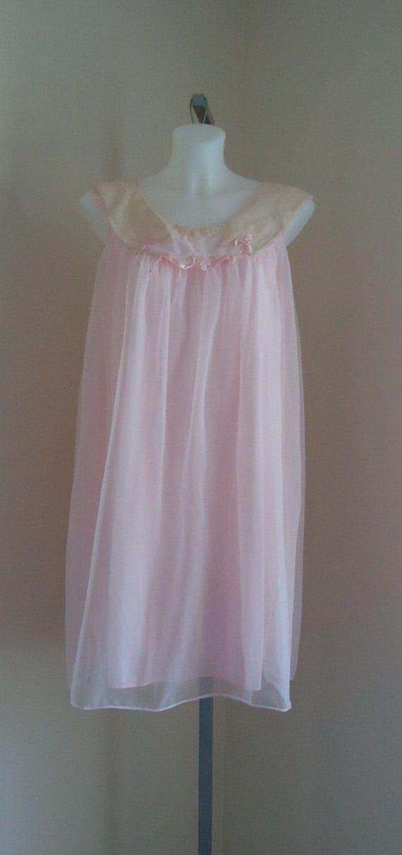 Vintage 1960s Dorsay Pink Chiffon Nightgown