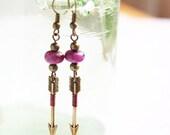 Pink Arrow Earrings. Rhodonite Stone Bead. Archery Hunt Wilderness Romantic Minimal Geometry, Aztec Earrings