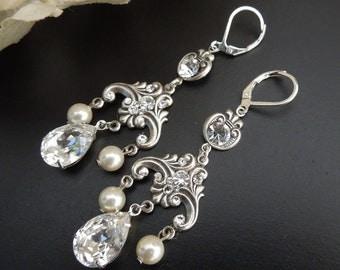 Pearl and Crystal Bridal Wedding Earrings,Vintage Style Chandelier Bridal Earrings,Silver Filigree Earrings,Wedding Jewelry,Pearl,KARLA