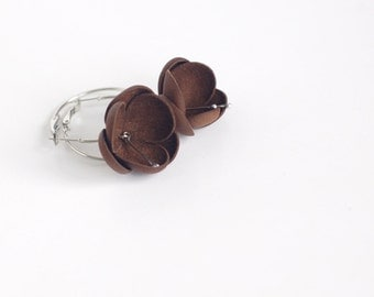 SALE 10% OFF Leather earrings in cacao brown