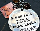 A son is a love that lasts forever - Personalized Necklace - Mother and Son Personalized Necklace - Son Personalized Initial Necklace