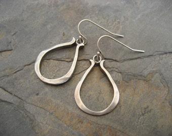 Teardrop earrings, pear shape dangle, teardrop hoops, silver hoop, pear drop earrings, simple earrings, organic earrings, handmade drop