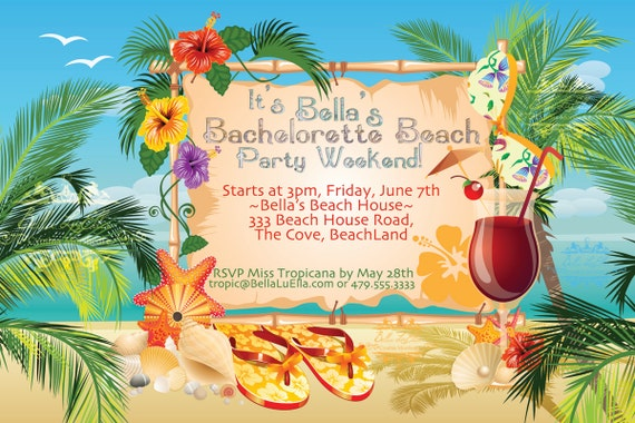 beach party invitation luau party summer weekend, Party invitations