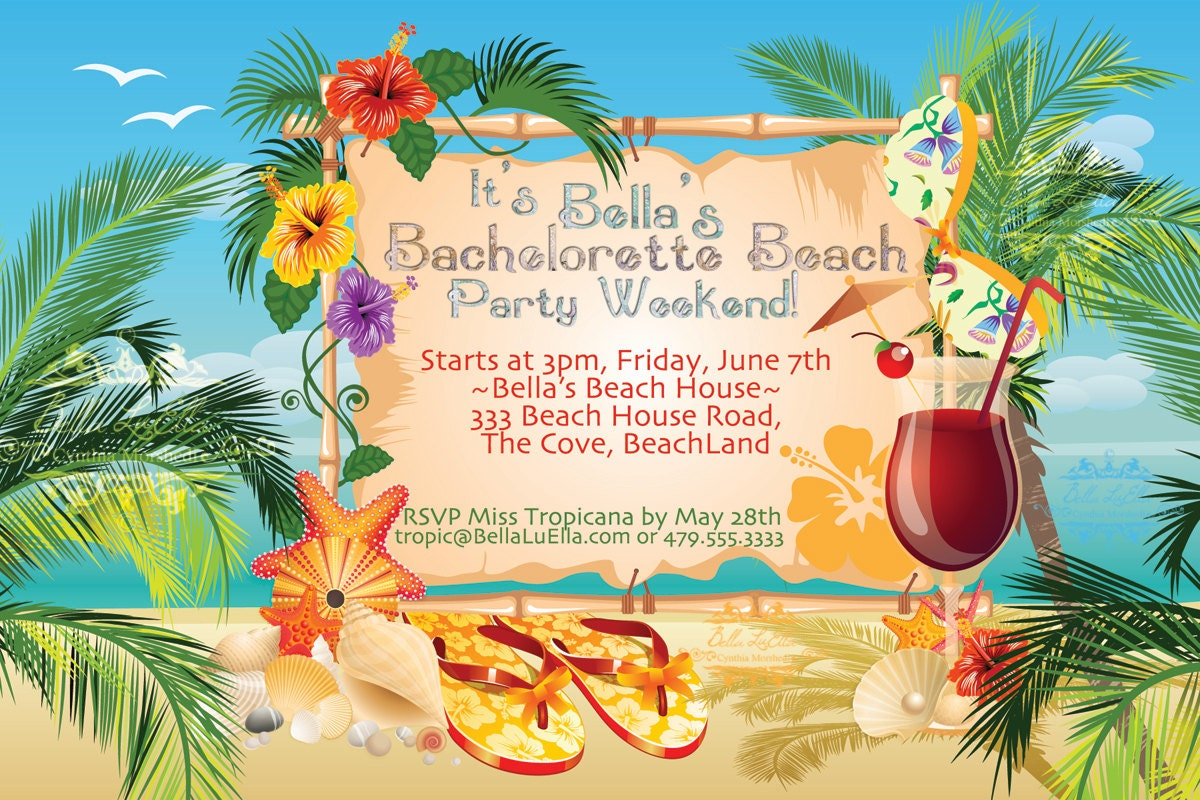 Beach Party Invitation Luau Party Summer Weekend – Beach Theme Party Invitations