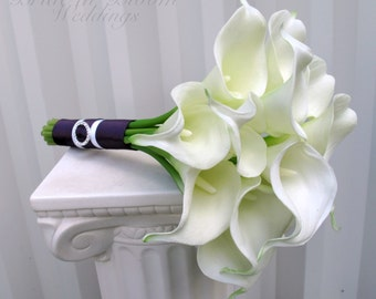Bridesmaid bouquet - White Calla lily wedding bouquet