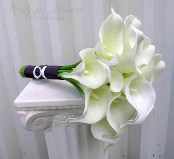 Bridesmaid bouquet white calla lily wedding bouquet like this item junglespirit Images