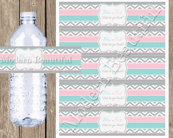 "Gender Reveal Party Water Bottle Labels ""Blue or Pink What do you think?""  Printable INSTANT DOWNLOAD  GenderReveal1"