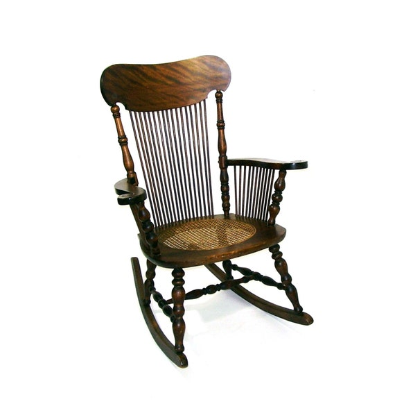antique rocking chair tiger oak wooden rocker by oceansidecastle