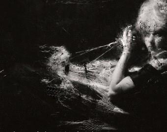 Femme Fatale Photograph Surreal Retro Noir Portrait Surreal Woman Black and White Wall Decor 8x8