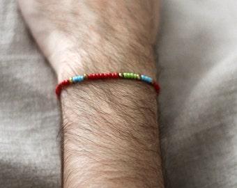 pearl reds mens bracelet - small bead bracelet for men - small bead bracelet with golden cultured pearls - mens red small bead bracelet
