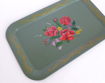 Roses Toleware Tray Green Gray Metal Shabby Chic Floral Flowers and Scroll Lithograph Design Patio Deck Kitchen Barware