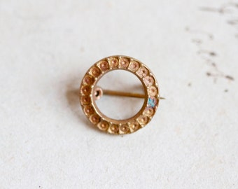 Antique Victorian Round Brooch - Little Brass Circle with Patina
