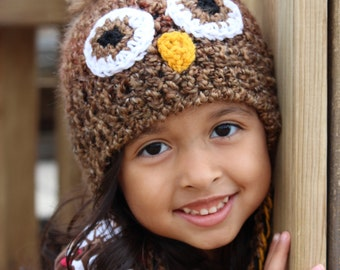 Owl Hat, brown owl hat for babies or children: Sizes newborn through adult available. Made to order.