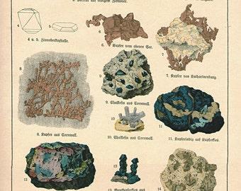 1878 Large Antique Print gemstones Chart minerals precious stones