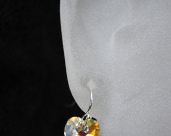 Heart Earrings -- Swarovski Crystal Heart AB, Silver