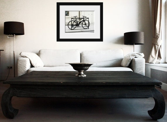 Paris photography black white photography monochrome print still life photo Europe vintage bike print large art prints gifts for men gift