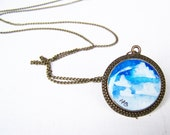 Cloud Necklace - Hand Painted Art Jewelry Pendant