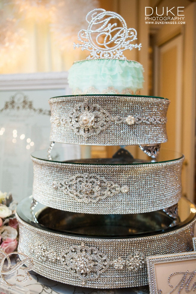 Round Silver Rhinestone Cake Stand For Wedding Anniversary