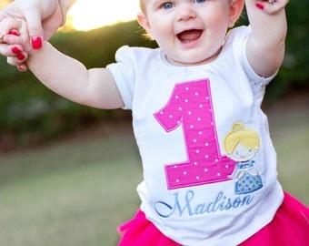 Cinderella birthday Applique shirt- Princess Birthday Shirt- Girl Birthday shirt- Birthday Princess Embroidered shirt- Monogram- Toddler