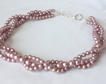 """Swarovski Crystal Pearl """"Bubble"""" Necklace, Multi Strand, Pink Pearl Statement Necklace"""