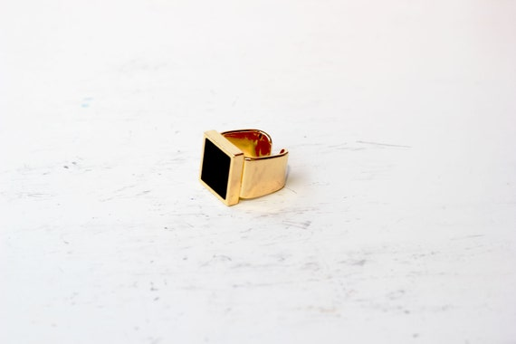 gold and black square ring- classy,geometric fabulase adjustable ring