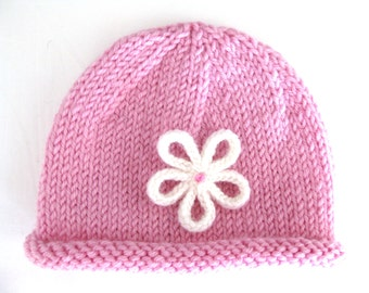 PATTERN Knitted PREEMIE and NEWBORN Rolled Brim Hat with Flower