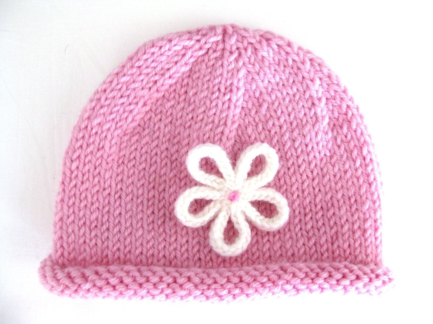 Knitting Pattern For Baby Hat With Brim : PATTERN Knitted PREEMIE and NEWBORN Rolled Brim Hat with
