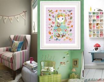 baby nursery art, nursery wall art, babushka print, baby girl nursery decor, shabby chic nursery art, children's art, baby wall art print