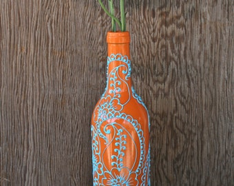 Henna Style design on Vase made from a recycled wine bottle, Up Cycled, Orange and Turquoise