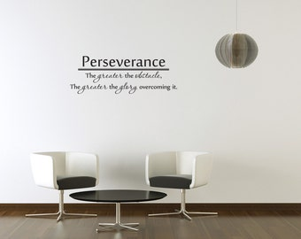 Perseverance The greater the obstacle Vinyl Wall Decal Quotes Home Wall Sticker Decor (J23)