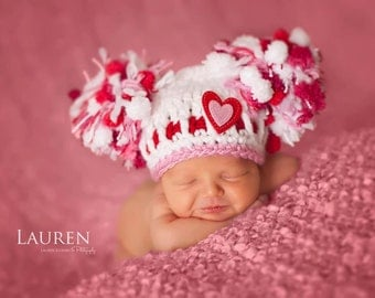 SALE & READY Baby Girl Hat Valentine Hat Newborn Baby Girl Crochet Chunky Pom Pom  Photography Prop Valentines Day Heart Hearts PINK
